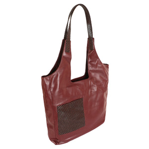 Soft Tote with Square Pocket - Maroon & Black (Large)
