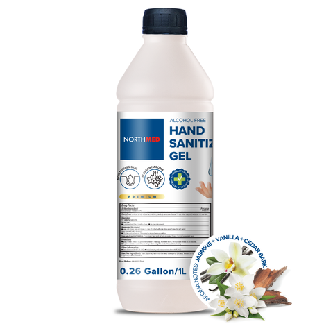 Northmed Premium Alcohol-Free Hand Sanitizer Gel with Jasmine, Vanilla & Cedar bark aroma, 1L