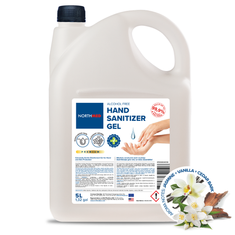 Northmed Premium Alcohol-Free Hand Sanitizer Gel with Jasmine, Vanilla & Cedar bark aroma, 5L