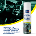 Northmed Premium Alcohol-Free Sanitizer, Disinfectant & Cleaner for Car Interior Surfaces +Air Freshener (Lemon & Sugarcane aroma), 250ml