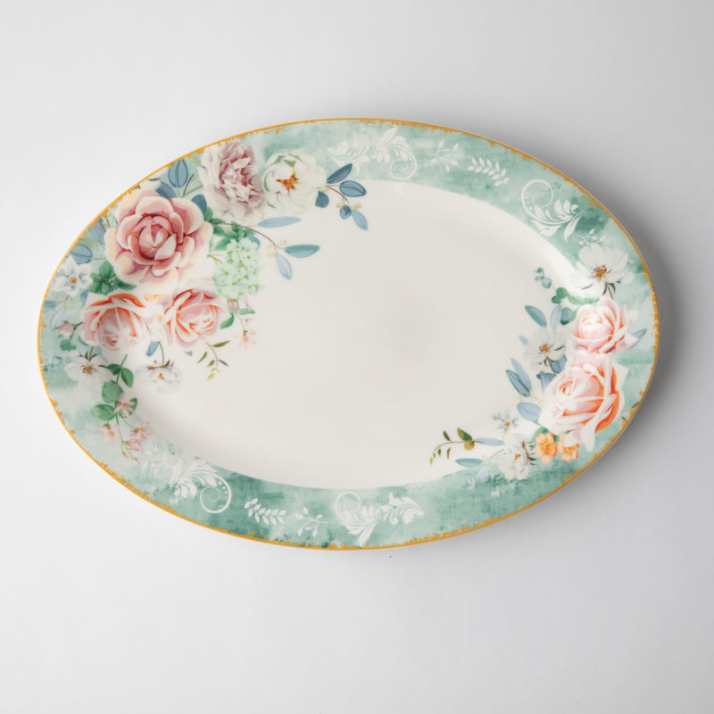 JENNA CLIFFORD - Green Floral Oval Platter