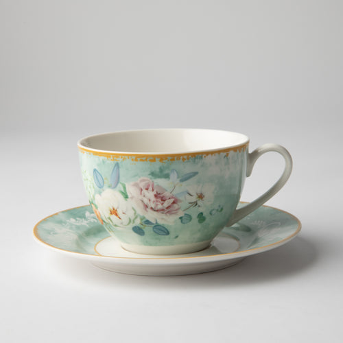 JENNA CLIFFORD - Green Floral Cup & Saucer Set of 4