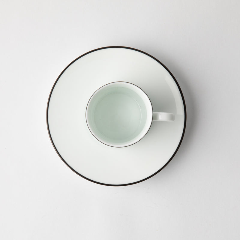 JENNA CLIFFORD - Premium Porcelain Espresso Cup & Saucer With Black Band