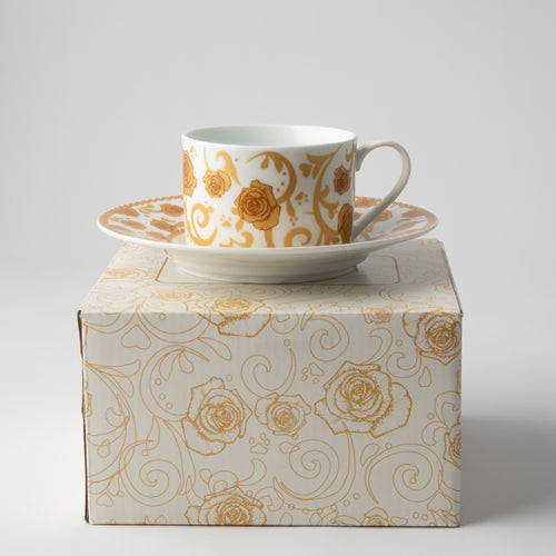 JENNA CLIFFORD - Mica Gold Tea Cup & Saucer Set of 2