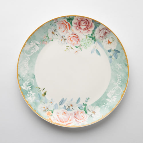 JENNA CLIFFORD - Green Floral Dinner Set of 4 + Salad Bowl