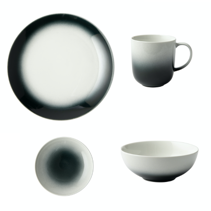 GALATEO - Ombre Black Dinner Set of 4