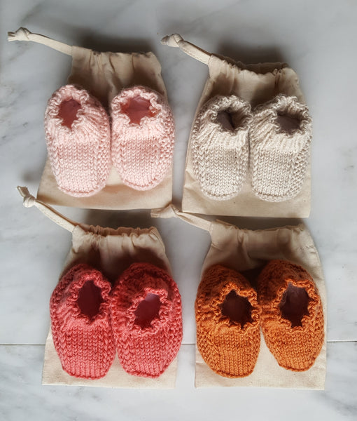 New baby booties in a bag