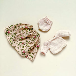 Doll outfit - Rosebud  print shell pink sweater and bloomers