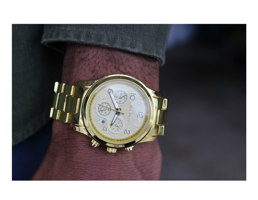Gold-Tone Stainless Steel Chronograph Watch