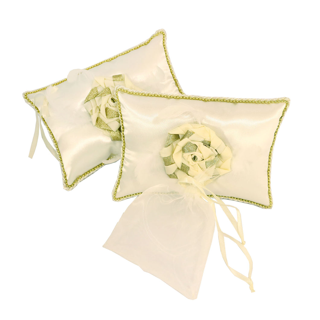 Pillow Set Metallic Braided Flower (Ecru Gold)