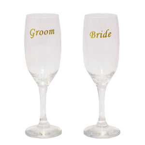 Toasting Glasses Set of 2 Etched Bride & Groom (Gold)