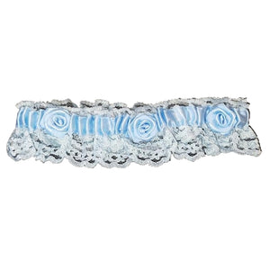 Wedding Garter Mini Lace (White with Blue)