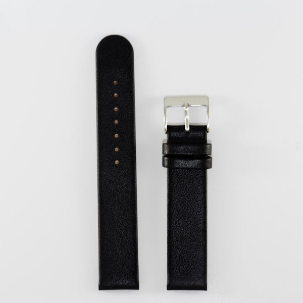 18mm Black Leather, Stainless Steel Buckle