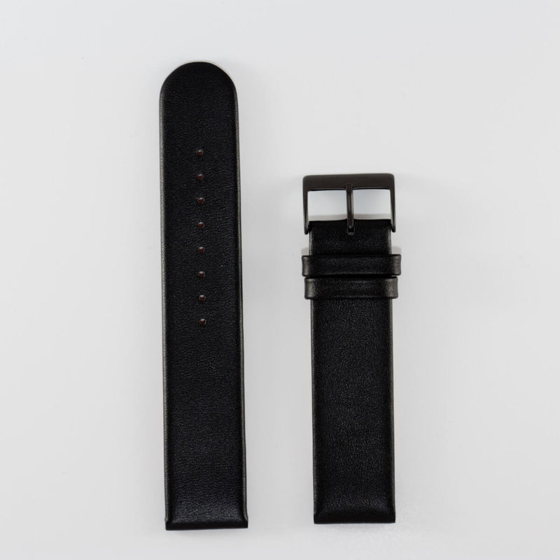 20mm Black Leather, Black Buckle