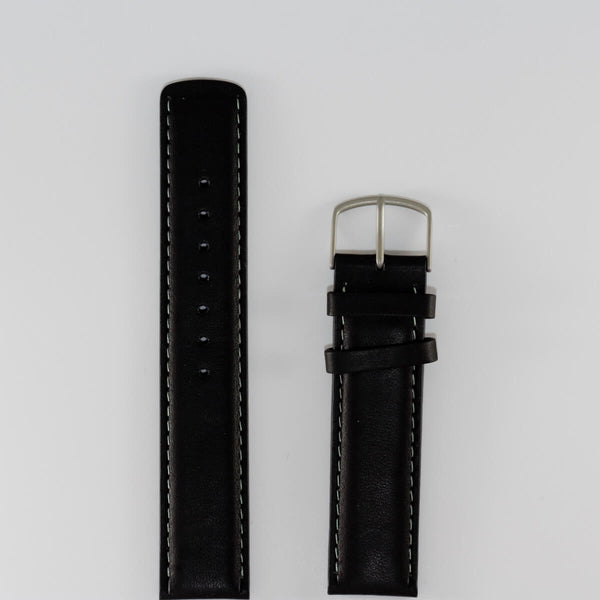 20 mm Black Leather band, Green Stitching