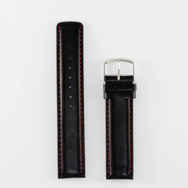 20mm Black Band, Red Stitching