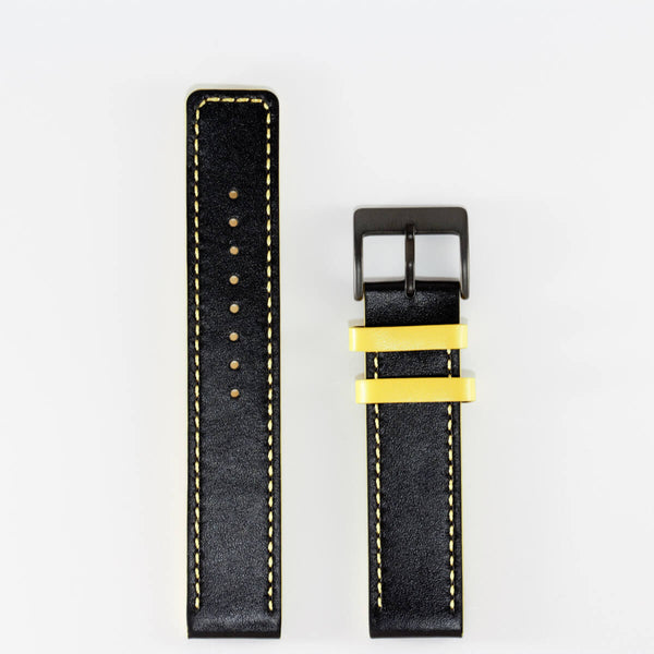 20mm Black/Yellow Leather band
