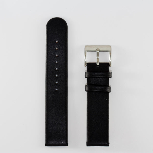 20mm Black Leather, Stainless Steel Buckle