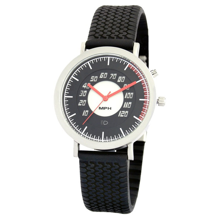 Speedometer Watch With Black Tire Tread Rubber Band