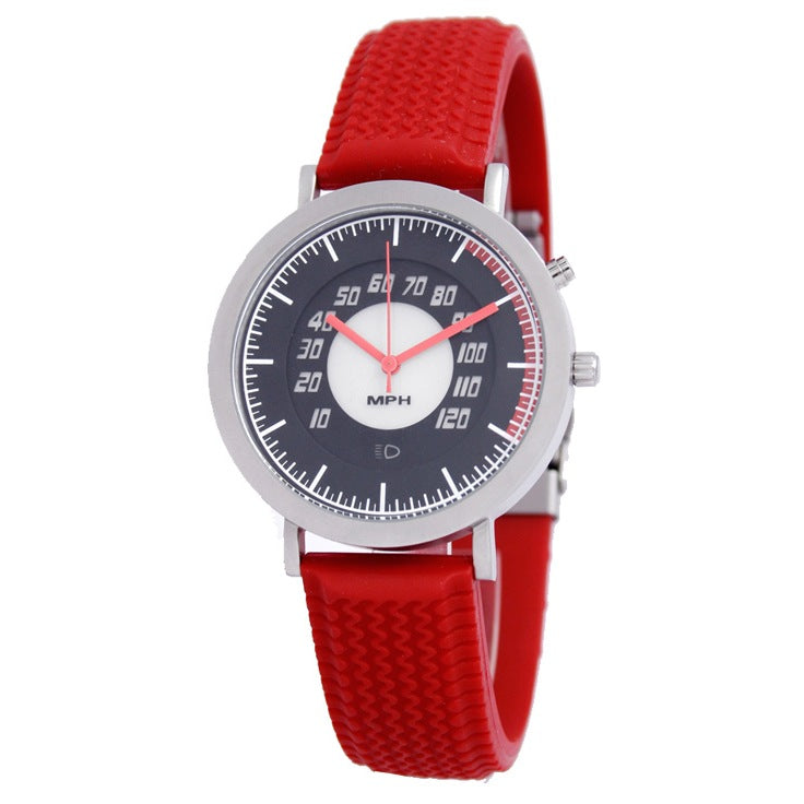 Speedometer Watch With Red Tire Tread Rubber Band