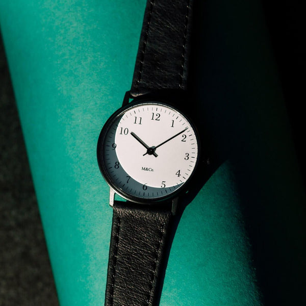 M&Co Bodoni BLACK Watch with BLACK Band 33mm