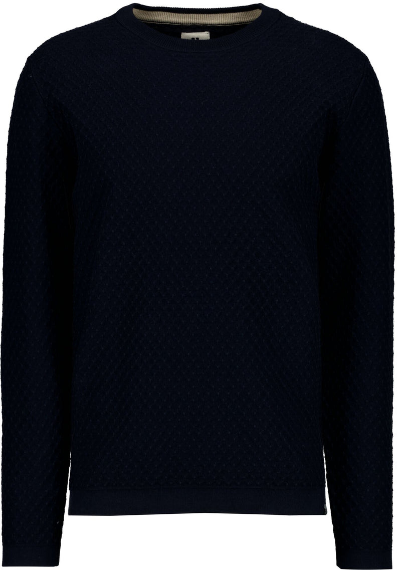 Pull bleu marine col rond maille
