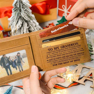 To My GrandSon - Premium Cow Leather Card Wallet