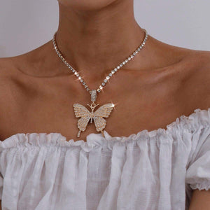 🔥Crystal Choker Necklace Silver Butterfly Pendant Necklaces