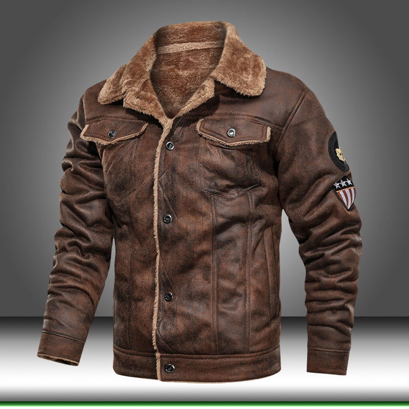 🔥Leather Jacket Men PU Coats Outerwear Motorcycle Biker🔥Free shipping