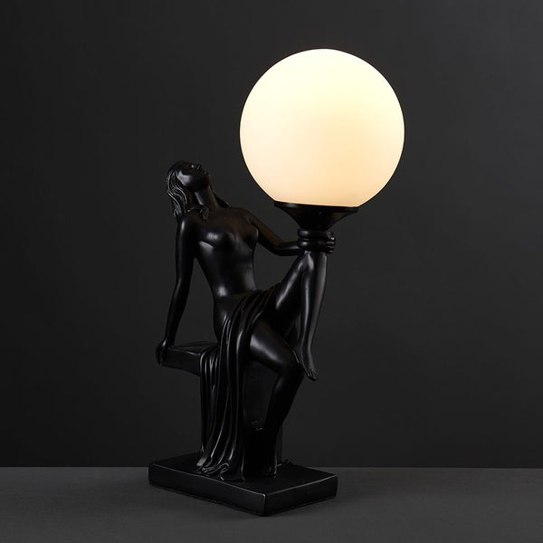 Matilda Matt Black Art Deco Table Lamp