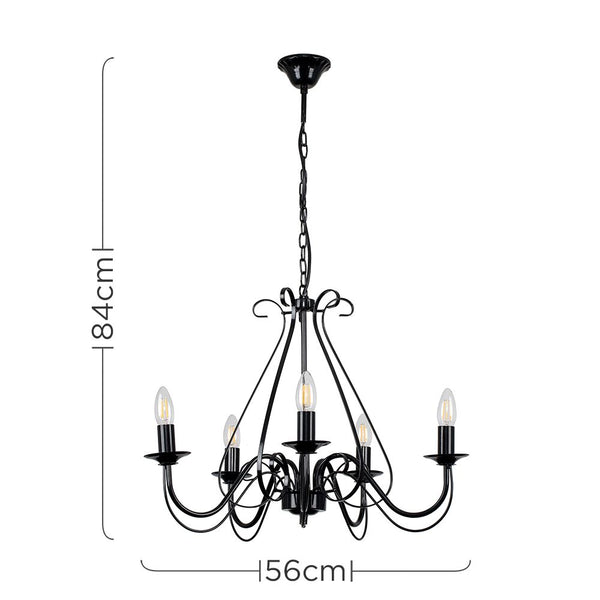 5 Way Chandelier Ceiling Light Black