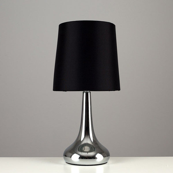 Pair Of Teardrop Touch Table Lamp Chrome Black Shade