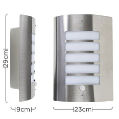 MEDLOCK IP44 PIR BULKHEAD WALL LIGHT IN BRUSHED CHROME