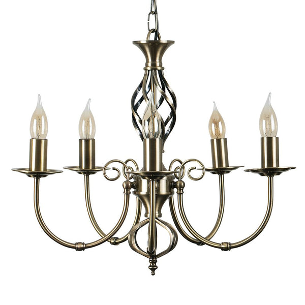MEMPHIS TWIST ANTIQUE BRASS 5 WAY CELLING LIGHT