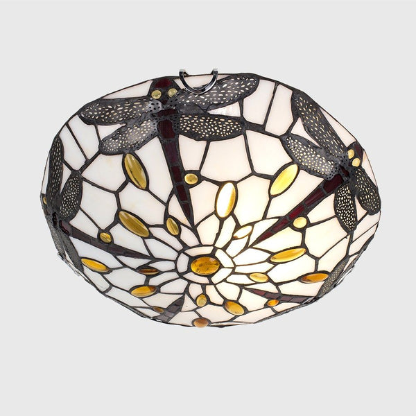 DRAGONFLY TIFFANY FLUSH UPLIGHTER CEILING LIGHT