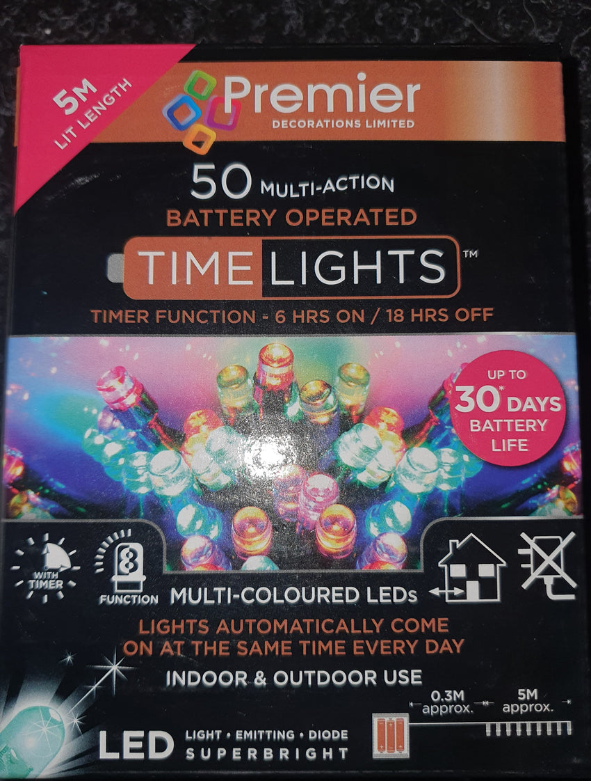 Premier 50 Multi-Coloured Battery Operated LED Lights