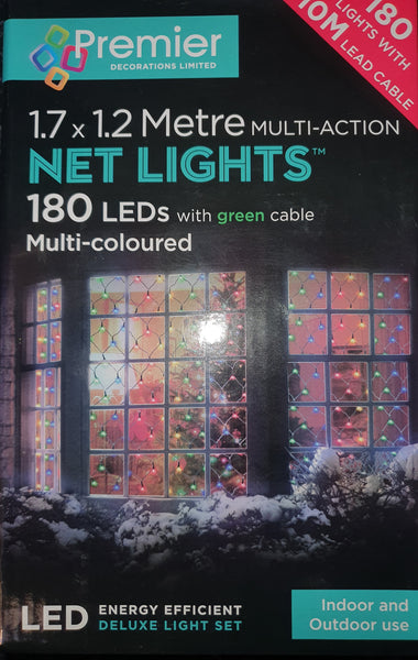 Premier 180 LED's NET LIGHTS Multi-Coloured