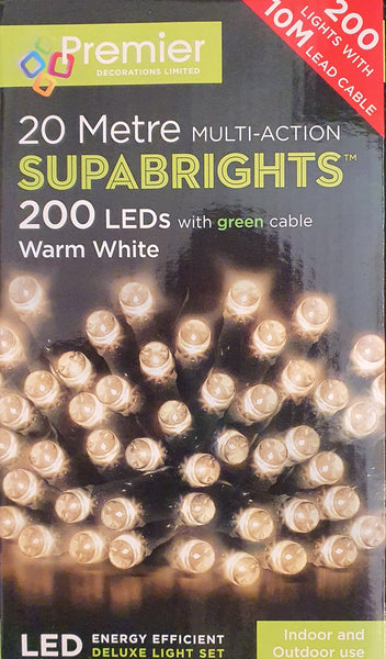 Premier 20 Metre Warm White LED Multi-Action Lights