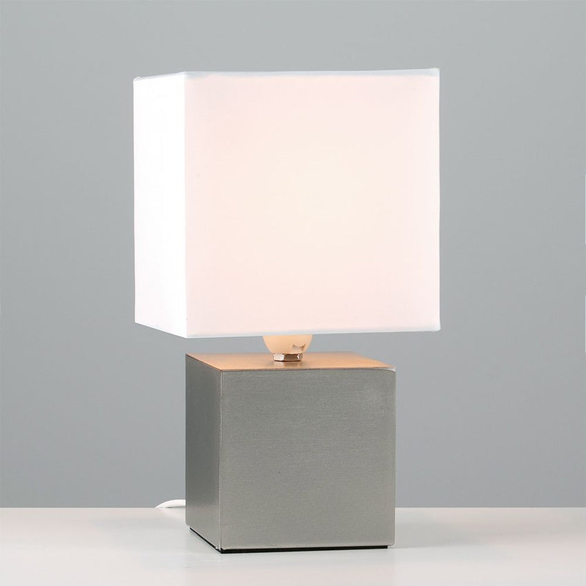 Cubbie Satin Nickel Touch Table Lamp Cube Base White