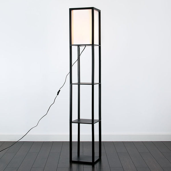 STRUTTURA Wooden Shelves Floor Lamp Black Finish TC Shade