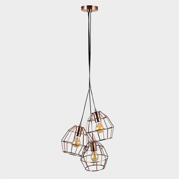 HAMISH 3 WAY BRUSHED COPPER BASKET CEILING ELECTRIC PENDANT
