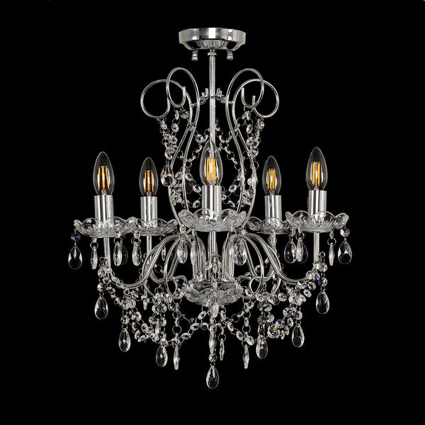 VISCOUNT 5 WAY K5 CRYSTAL DROPLET SEMI-FLUSH CEILING LIGHT