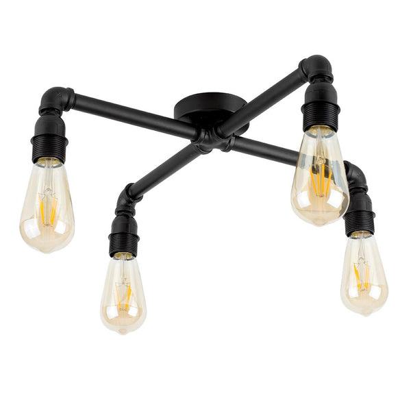 Luiggi Steampunk 4 Way Satin Black Pipework Ceiling Light