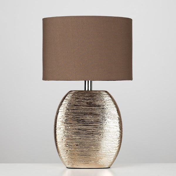 Miron Combed Ceramic Table Lamp Copper (Metallic)