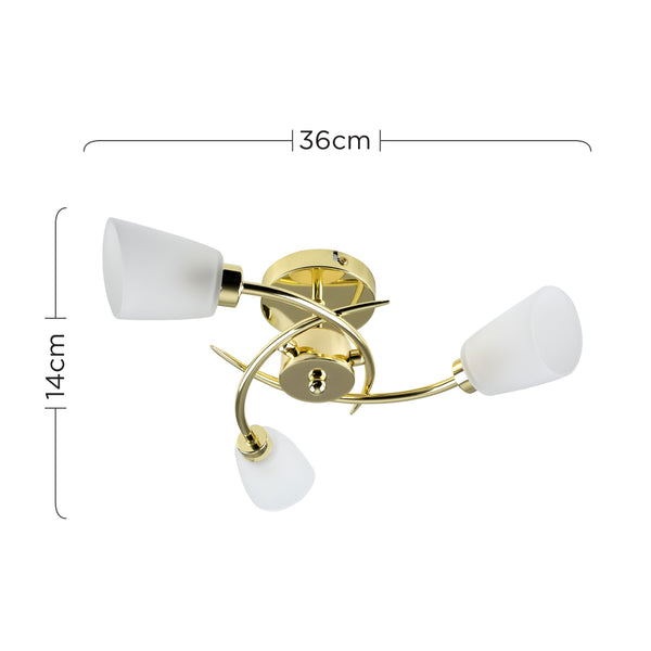 KAVIO 3 WAY POLISHED BRASS CEILING LIGHT FROSTED GLASS