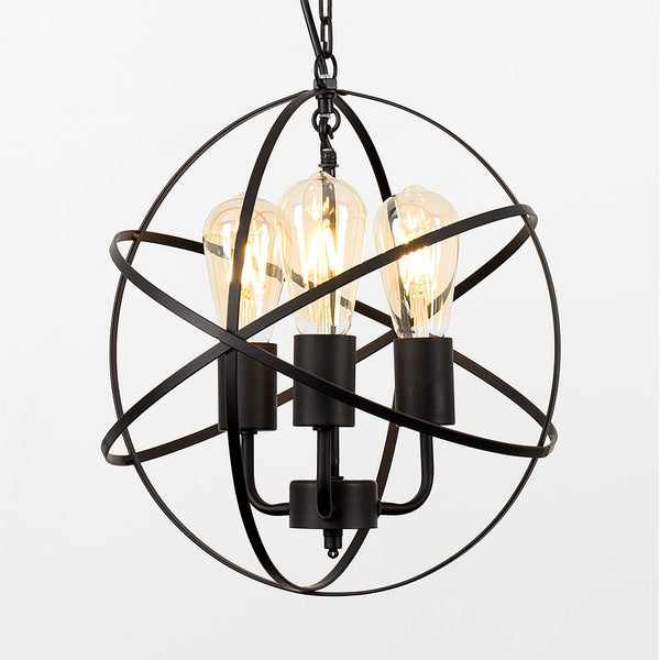 DALTON MATT BLACK ATOM 3 WAY STEAMPUNK CEILING LIGHT