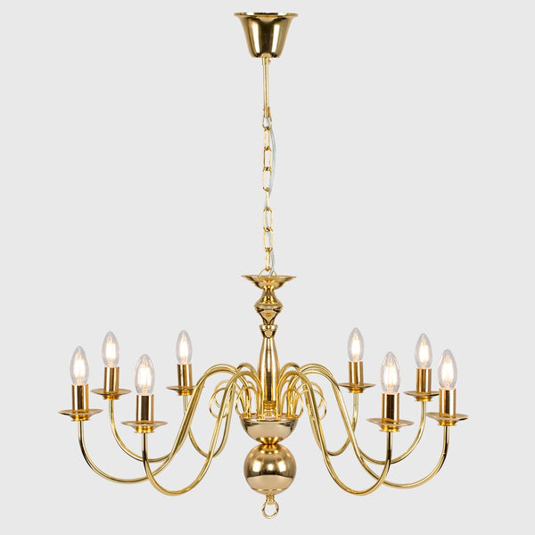GOTHICA FLEMISH STYLE 8 WAY CEILING LIGHT GOLD EFFECT