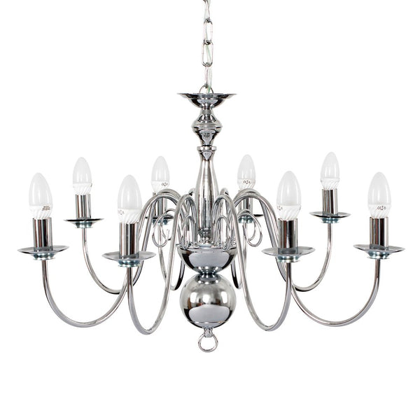 GOTHICA FLEMISH STYLE 8 WAY CELLING LIGHT CHROME