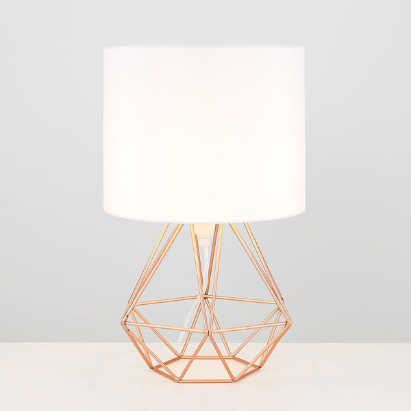 Angus Geometric Brushed Copper Base Table White Shade