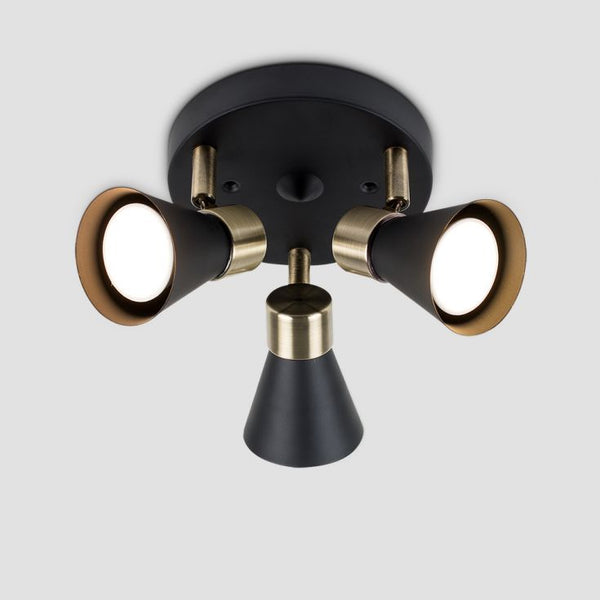 SONNET 3 WAY ROUND SPOTLIGHT STEAMPUNK BLACK / ANTIQUE BRASS